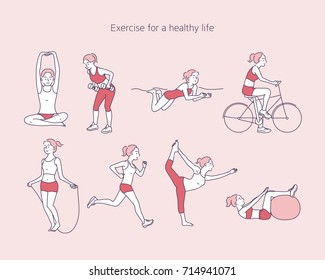 exercise people for a healthy life vector illustration flat design