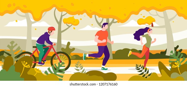 Exercise people in the park for a healthy life vector illustration, flat design. People jogging in the city park.