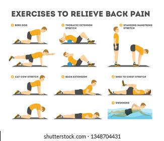 Exercise set to relieve back pain. Stretching and training. Body relaxation. Workout in the gym. Isolated vector illustration in cartoon style