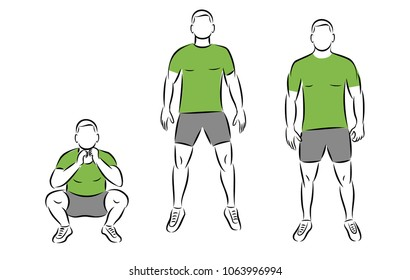 Exercise squat and jump. Man in gym sport vector illustration for web or print.