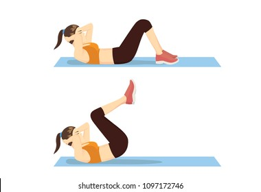 Exercise Step with Reverse Crunch by healthy woman. Illustration about correct moves for abdominal workout.