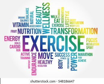 EXERCISE word cloud, fitness, sport, health concept