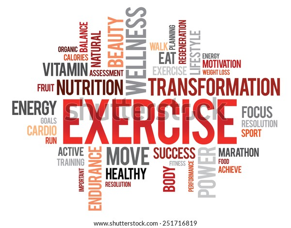 Exercise Word Cloud Fitness Sport Health Stock Vector Royalty Free 251716819