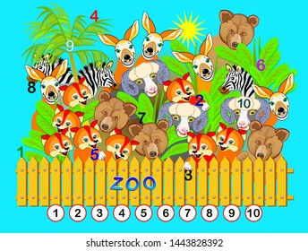 Exercise for young children. Need to find the numbers from 1 till 10 hidden in the picture between animals. Logic puzzle game. Developing skills for counting. Printable worksheet for kids book.