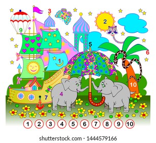 Exercise for young children. Need to find the numbers from 1 till 10 hidden in the picture. Logic puzzle game. Developing skills for counting. Printable worksheet for kids book. Back to school.
