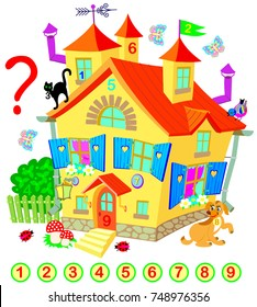 Exercise for young children. Need to find the numbers hidden in the fairy house. Logic puzzle game. Developing skills for counting. Vector image.