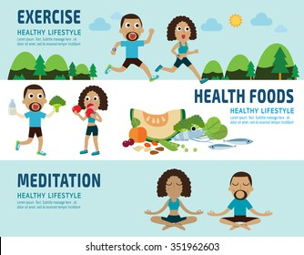 exercise.healthy foods.meditating. banner header.healthcare concept. elements infographic.vector flat modern icons design illustration.isolated on white and blue background.