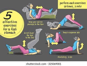 Exercises for the ABS. Fitness, sports, girl performs exercises step by step set of exercises for the abdominals, Freehand drawing