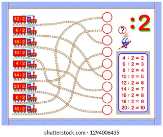 Exercises with division by 2. Write the numbers in correct circles. Educational page for mathematics baby book. Printable worksheet for children textbook. Back to school. Vector cartoon image.