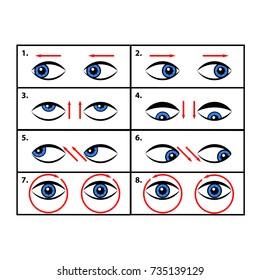 Augenübungen.  Vektorgrafik.