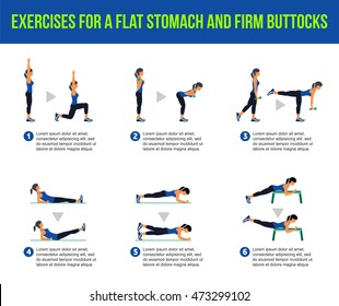 Exercises for a flat stomach and firm buttocks. Fitness, Aerobic and workout exercise in gym. Vector set of workout icons in flat style isolated on white background.