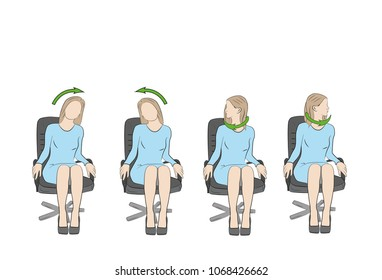 Exercises for the head and neck in the office at the workplace. vector
