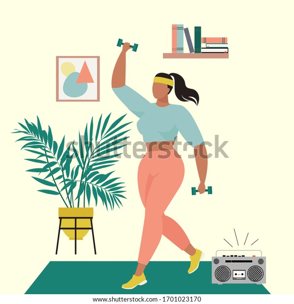 Exercises at home, quarantine sports. Healthy lifestyle in quarantine. Illustration of a woman who goes in for sports. Illustration in nineties style.