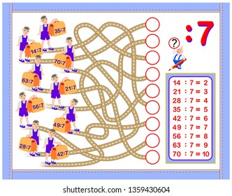 Exercises for kids with division by number 7. Write numbers in correct circles. Educational page for mathematics baby book. Printable worksheet for children textbook. Back to school. Vector image.