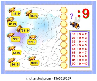 Exercises for kids with division by number 9. Write numbers in correct circles. Educational page for mathematics baby book. Printable worksheet for children textbook. Back to school.