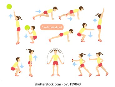 Exercises for kids set. Workout for girls. Cardio exercises with weights, jumping rope and ball. Healthy lifestyle for children.
