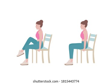 Exercises that can be done at-home using a sturdy chair. As you inhale, slowly lower your right leg. lift your left knee to your chest, contracting your abdominal muscles.  with Abdominal Tuck posture
