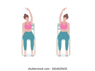 """Exercises that can be done at-home using a sturdy chair. With the right hand, grip the right side of the seat. Extend the left hand above the head making of a """"C"""" with Seated Side Stretch posture."""