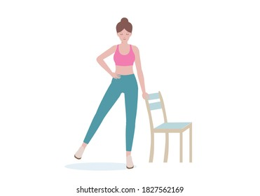 Exercises that can be done at-home using a sturdy chair. Stand adjacent to a chair  Lift one leg and keep the other and hold it in that position for 5-10 seconds with Side Leg Raise. Cartoon style.
