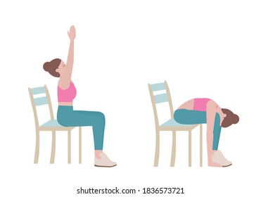 Exercises that can be done using a sturdy chair. Breathe in and lift your arms up, pressing your palms overhead. On an exhale, float the arms back down to your sides. with Sun Salutation Arms posture.