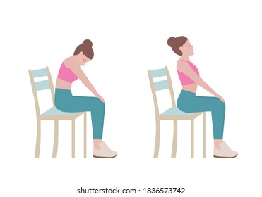 Exercises that can be done using a sturdy chair. for doing  Cat Cow Stretch. warm up sequence, a relaxation sequence, or as an exercise to prevent back pain. Fitness and health concepts.