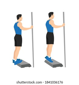 Exercises that can be done at-home. Stand on a step so heel can drop lower than the rest of foot at the bottom of the movement. with Calf raises posture.