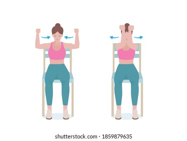 Exercises that can be done at-home using a sturdy chair. Arms parallel to the floor and your lower arms  Engage your chest and arm muscles and press your forearms together.  with Chest Squeezes.