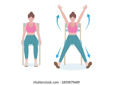 Exercises that can be done at-home using a sturdy chair. Bend your knees and keep them together. Open your legs and extend your arms overhead simultaneously. with jumping jacks posture.