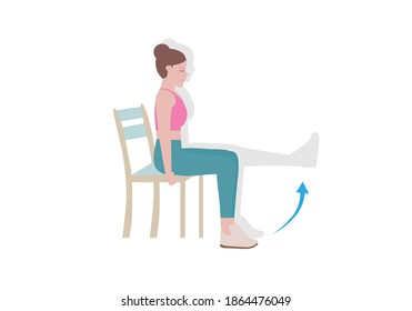 Exercises that can be done at-home using a sturdy chair. Slowly raise the leg until it is horizontal. Hold for five seconds, and slowly let it return to the ground.  with Knee Extension posture.