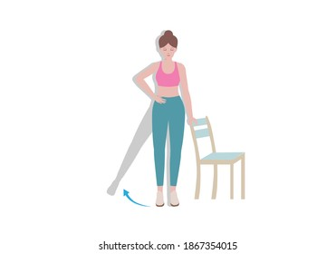 Exercises that can be done at-home using a sturdy chair collection. Woman Stands adjacent to a chair and lifts one leg and keep the other and hold it in that position for 5-10 seconds with Side Leg Raise. Cartoon style.