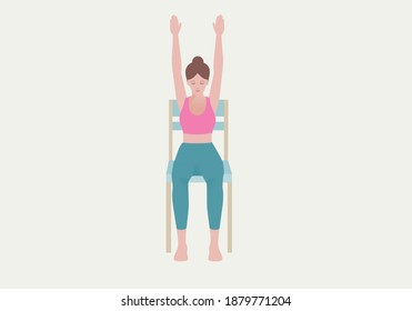 Exercises that can be done at-home using a sturdy chair. Your feet flat on the ground, look up, take your arms straight up to the sky, and touch your palms together. with Extended Mountain Pose.