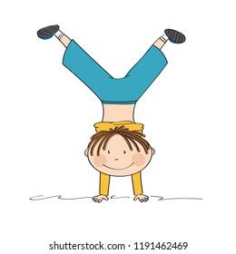 Exercising boy having fun, smiling, doing handstand - original hand drawn illustration