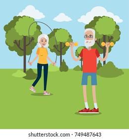 Exercising for elderly. Senior couple doing fitness in the park.