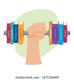 Exercising knowledge. Arm lifting a weight with books.