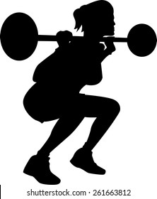 Exercising woman silhouette