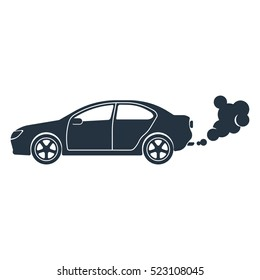 exhaust, co2, isolated icon on white background, auto service, car repair