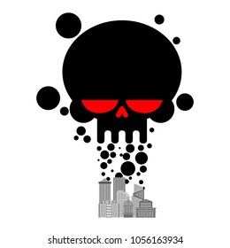 Exhaust gases from city. Black Smoke skull. Environmental pollution. Factory and poisonous gas.  death of all living things. Ecological catastrophy