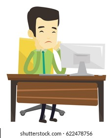 Exhausted bored asian employee sitting in front of computer in office. Overworked tired employee working with his head propped on hand. Vector flat design illustration isolated on white background.