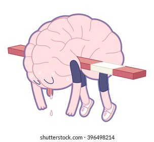 Exhausted brain hanging on the hurdle in hurdle race activity - flat cartoon vector illustration. A part of the Brain collection.