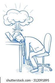 Exhausted business man at his desk with explosion over his head, concept of stress, burnout, headache, depression, hand drawn doodle vector illustration
