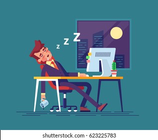 Exhausted businessman fell asleep in the workplace in the office at night. Work overtime. Modern vector illustration.
