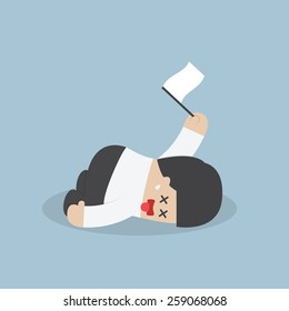 Exhausted businessman lying down on the floor and surrender, VECTOR, EPS10