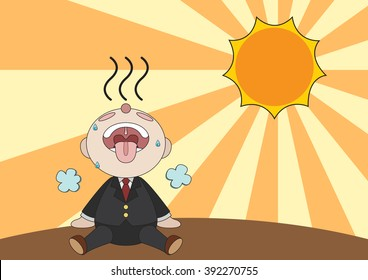 exhausted businessman is sitting under shiny sun cartoon vector