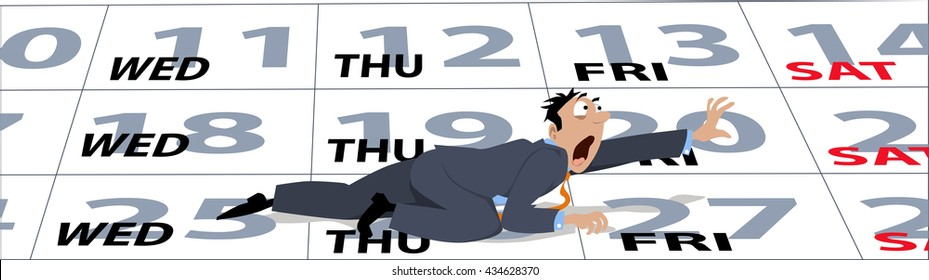 An exhausted cartoon businessman crawling on a calendar to a weekend, EPS 8 vector illustration, no transparencies