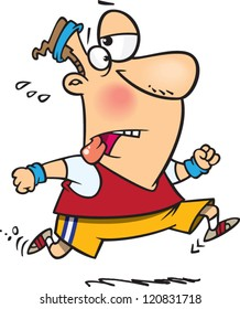 exhausted cartoon man running for exercise