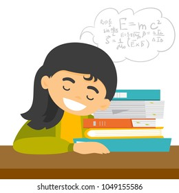 Exhausted caucasian white student sleeping on the desk and solving maths exercises while sleep. Sleepy student lying on books after learning. Vector cartoon illustration isolated on white background.