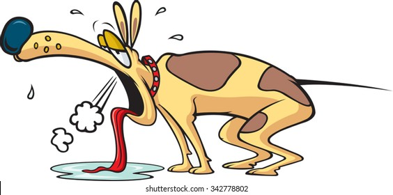Exhausted Dog  Cartoon exhausted Dog. Layered vector file available.