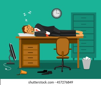 Exhausted employee sleeping on a work desk in the office. Humor burnout.  i need vacation vector illustration