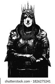 An exhausted female crusader, in plate armor, chain mail and a crown, stands firmly leaning on her sword. 2D illustration