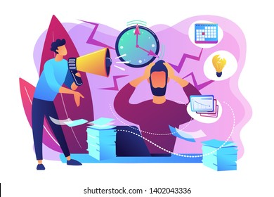 Exhausted, frustrated worker, burnout. Boss shout at employee, deadline. How to relieve stress, acute stress disorder, work related stress concept. Bright vibrant violet vector isolated illustration